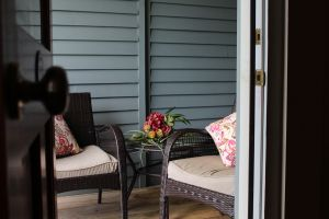 Intimate patio areas are great for downtime.